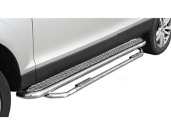 Romik 5 in. Running Board With Add-On Nerf Bar - Stainless Steel