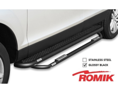 Romik 5 in. Running Board With Add-On Nerf Bar - Black Powder Coated