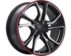 ART Wheels Replica 79 - Satin Black with Machined Face with Red line
