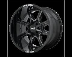 Moto Metal MO970 Series Wheels - Gloss black with milled spoke & moto metal on lip
