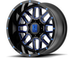 XD Series Wheels XD820 GRENADE - Satin Black - Milled With Blue Clear Coat