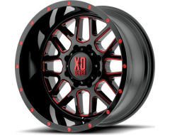 XD Series Wheels XD820 GRENADE - Satin Black - Milled with red clear coat