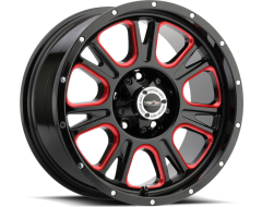 Vision Wheels 399 Fury - Gloss Black - Ball Cut Machined with Red Tint