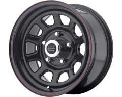 American Racing Wheels AR767 Steel Gloss Black with Red and Blue Stripe