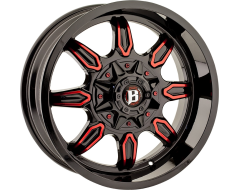 Ballistic Wheels 670 Rampage Painted Gloss Black with Machined Accents