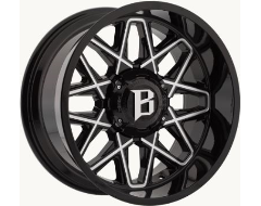 Ballistic Wheels 818 Atomic Painted Gloss Black with Milled Accents