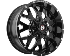 Ballistic Wheels 853 Tank Painted Gloss Black with Milled Accents