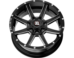 Ballistic Wheels 956 Razorback Painted Gloss Black with Milled Accents