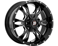 Ballistic Wheels 957 Mace Painted Gloss Black with Milled Accents
