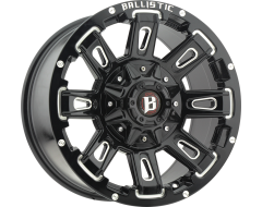 Ballistic Wheels 958 Ravage Painted Gloss Black with Milled Accents