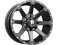Ballistic Wheels 971 Hawk Painted Gloss Black with Milled Accents