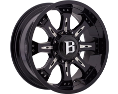 Ballistic Wheels 973 Scorpion Painted Gloss Black with Milled Accents