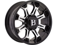Ballistic Wheels 974 Komodo Painted Gloss Black with Machined Face